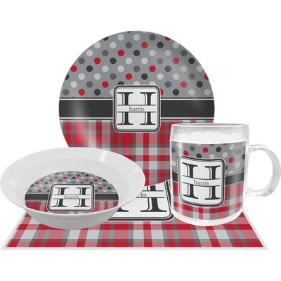 Red & Gray Dots and Plaid Dinner Set - 4 Pc (Personalized)