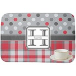 Red & Gray Dots and Plaid Dish Drying Mat (Personalized)