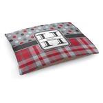 Red & Gray Dots and Plaid Dog Bed (Personalized)