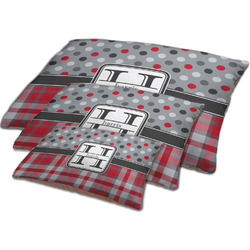 Red & Gray Dots and Plaid Dog Bed w/ Name and Initial