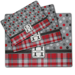 Red & Gray Dots and Plaid Dog Food Mat w/ Name and Initial