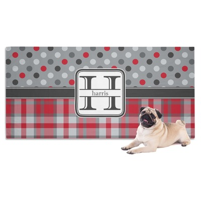 Red & Gray Dots and Plaid Dog Towel (Personalized)