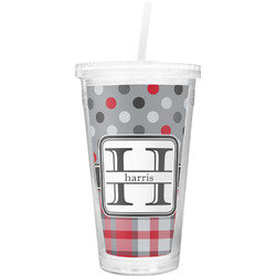 Red & Gray Dots and Plaid Double Wall Tumbler with Straw (Personalized)