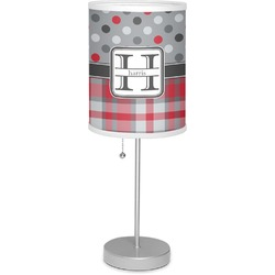 """Red & Gray Dots and Plaid 7"""" Drum Lamp with Shade (Personalized)"""
