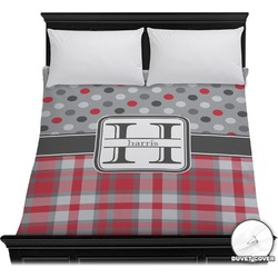 Red & Gray Dots and Plaid Duvet Cover (Personalized)