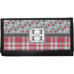 Red & Gray Dots and Plaid Canvas Checkbook Cover (Personalized)
