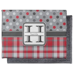 Red & Gray Dots and Plaid Microfiber Screen Cleaner (Personalized)