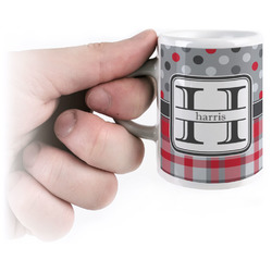 Red & Gray Dots and Plaid Espresso Cups (Personalized)