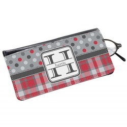 Red & Gray Dots and Plaid Genuine Leather Eyeglass Case (Personalized)