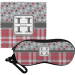 Red & Gray Dots and Plaid Eyeglass Case & Cloth (Personalized)
