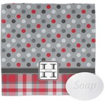 Red & Gray Dots and Plaid Washcloth (Personalized)