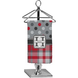 Red & Gray Dots and Plaid Finger Tip Towel - Full Print (Personalized)