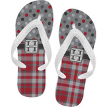 Red & Gray Dots and Plaid Flip Flops (Personalized)