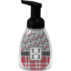 Red & Gray Dots and Plaid Foam Soap Dispenser (Personalized)