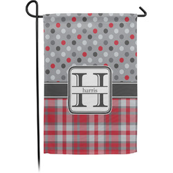 Red & Gray Dots and Plaid Garden Flags With Pole - Single or Double Sided (Personalized)