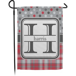 Red & Gray Dots and Plaid Garden Flag (Personalized)