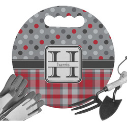 Red & Gray Dots and Plaid Gardening Knee Cushion (Personalized)