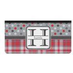Red & Gray Dots and Plaid Genuine Leather Checkbook Cover (Personalized)