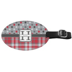 Red & Gray Dots and Plaid Genuine Leather Oval Luggage Tag (Personalized)