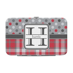 Red & Gray Dots and Plaid Genuine Leather Small Framed Wallet (Personalized)