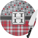 Red & Gray Dots and Plaid Round Glass Cutting Board (Personalized)