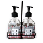 Red & Gray Dots and Plaid Soap & Lotion Dispenser Set (Glass) (Personalized)