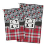 Red & Gray Dots and Plaid Golf Towel - Full Print w/ Name and Initial