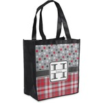 Red & Gray Dots and Plaid Grocery Bag (Personalized)