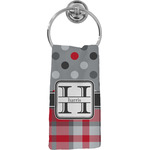 Red & Gray Dots and Plaid Hand Towel - Full Print (Personalized)