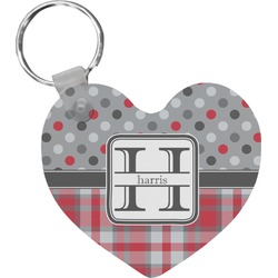 Red & Gray Dots and Plaid Heart Keychain (Personalized)