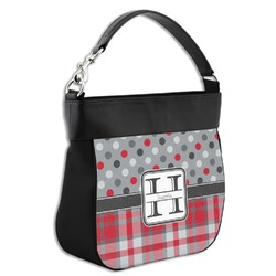 Red & Gray Dots and Plaid Hobo Purse w/ Genuine Leather Trim (Personalized)