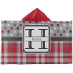 Red & Gray Dots and Plaid Kids Hooded Towel (Personalized)