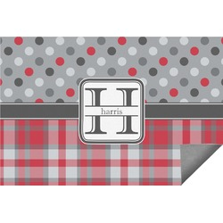 Red & Gray Dots and Plaid Indoor / Outdoor Rug (Personalized)