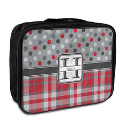 Red & Gray Dots and Plaid Insulated Lunch Bag (Personalized)