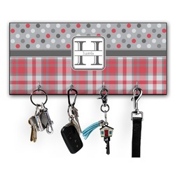 Red & Gray Dots and Plaid Key Hanger w/ 4 Hooks (Personalized)