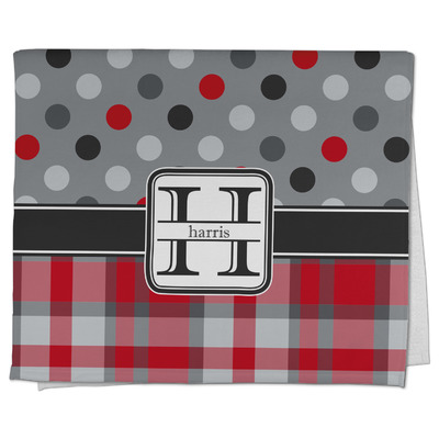 Red & Gray Dots and Plaid Kitchen Towel - Full Print (Personalized)