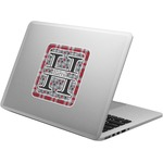 Red & Gray Dots and Plaid Laptop Decal (Personalized)