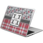 Red & Gray Dots and Plaid Laptop Skin - Custom Sized (Personalized)