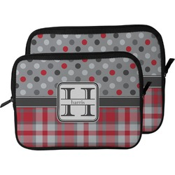 Red & Gray Dots and Plaid Laptop Sleeve / Case (Personalized)