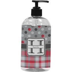 Red & Gray Dots and Plaid Plastic Soap / Lotion Dispenser (Personalized)