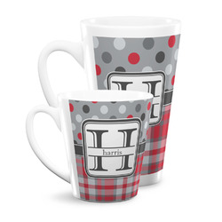 Red & Gray Dots and Plaid Latte Mug (Personalized)