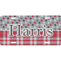 Red & Gray Dots and Plaid Front License Plate (Personalized)