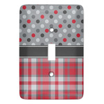 Red & Gray Dots and Plaid Light Switch Covers (Personalized)