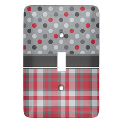 Red & Gray Dots and Plaid Light Switch Covers - Multiple Toggle Options Available (Personalized)