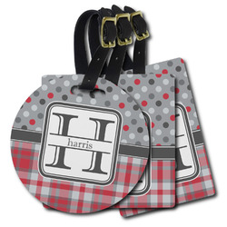 Red & Gray Dots and Plaid Plastic Luggage Tags (Personalized)