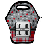 Red & Gray Dots and Plaid Lunch Bag w/ Name and Initial