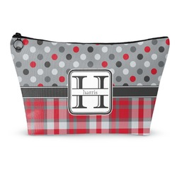 Red & Gray Dots and Plaid Makeup Bags (Personalized)