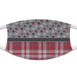 Red & Gray Dots and Plaid Cloth Face Mask (T-Shirt Fabric) (Personalized)