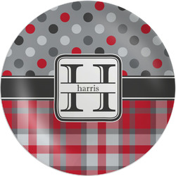 Red & Gray Dots and Plaid Melamine Plate - 8