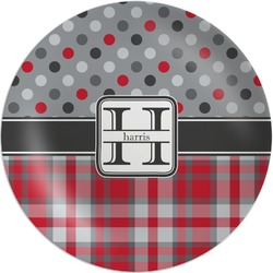 Red & Gray Dots and Plaid Melamine Plate (Personalized)
